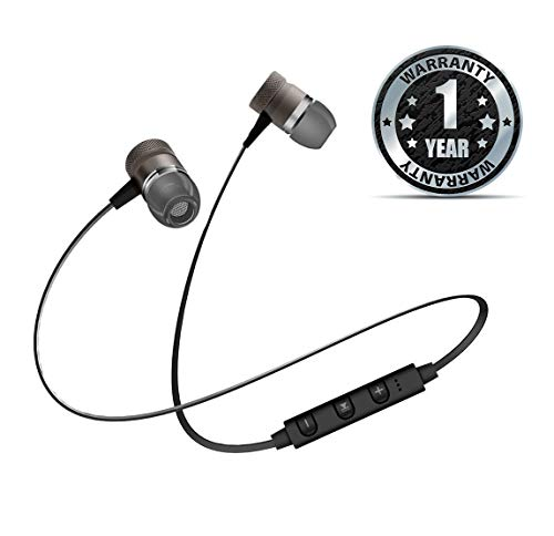 Amplec Wireless Stereo Magnetic Earphones V4.1 with Mic Noise Cancelling Sweatproof Sports Running Headset