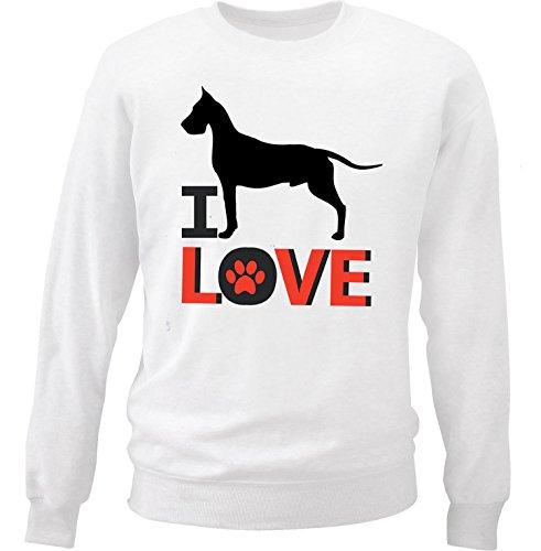 teesquare1st Men's Great Dane - I Love White Sweatshirt Size Small (Sweatshirt Great Dane Adult)