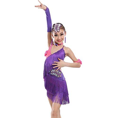Wgwioo Rosa Quaste Kinder Latin Dance Kleidung . Purple . 120Cm (Lyrical Dance Kostüme Rosa)