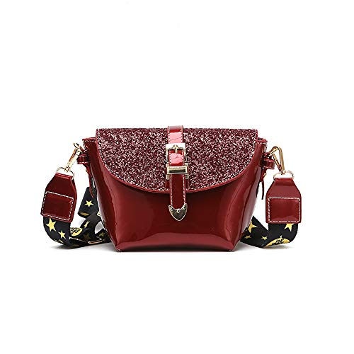 Patent Leder Messenger (ZXYMUU Women es New Shoulder Bag Texture Messenger Bag Patent Leder Sequin Bag,Red)