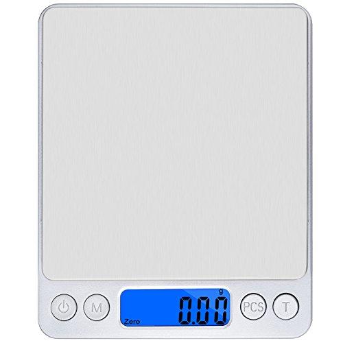 - Información general: Balanza digital de cocina de bolsillo, 500x 0,01 g, de gran precisión, para pesar joyas de diamante, pesa en g/oz/ct/gn. Características: Plataforma grande, no magnética y de acero inoxidable. Dos bandejas para pesar, una pequ...