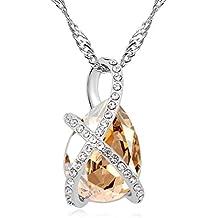 LYJBIK Las Mujeres De Alta Calidad De Cristal Colgante Collar De La Aleación Gleaming,E