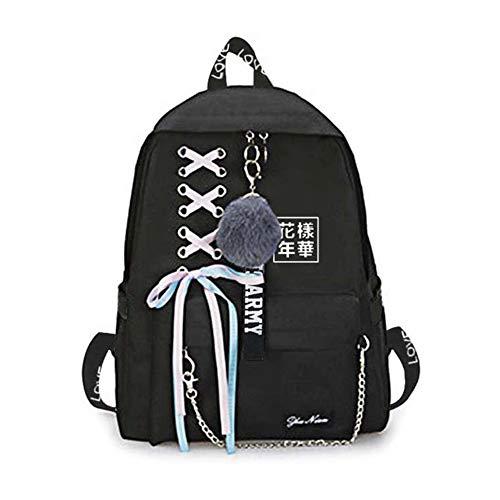 Yovvin BTS Rucksack, Kpop Bangtan Jungen Canvas Große Kapazität Schulrucksack Daypack für Reise, Wandern, Outdoor, Camping, Täglicher Gebrauch(Style 14)