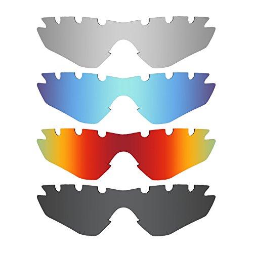 MRY 4Paar Polarisierte Ersatz-Gläser für Oakley M2Rahmen belüftet Sunglasses-Stealth schwarz/fire rot/Ice blau/Silber Titan