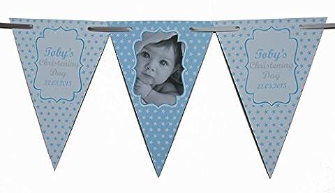 personalisiert Taufe blau & rosa Sterne Wimpelkette Banner Dekoration Verschiedene