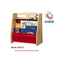 G4RCE® CHILDRENS BOOK-SHELF WOODEN BOOKCASE RACK STORAGE TIDY KIDS PLAYROOM (Book Shelf 2 (W08D044))