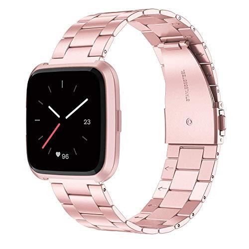 Wearlizer für Fitbit Versa Armband, Edelstahl Ersatzband Armbänder für Fitbit Versa Special Edition Klein Groß - Rosa - Fitbit-armband Faltschließe