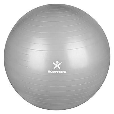 BODYMATE Gymnastikball / Fitnessball - Premium Yoga-Ball für Yoga & Pilates Core-Training inkl. Luftpumpe - Belastbar bis 300kg, Verfügbar in den Größen 55, 65, 75, 85-cm, Blau oder Silber von BODYMATE