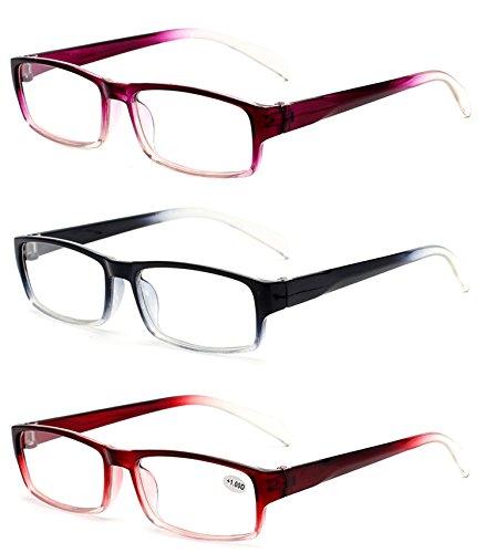 VEVESMUNDO Herren Damen Lesebrillen Lesebrille Rechteckige Designer Brille Augenoptik Sehhilfe Lesehilfe mit Sehstärke LANOMI NEU DESINGER (3er Pack(3 Farben in selbene Dioptrien), 3.0)
