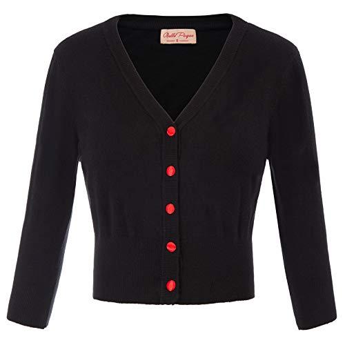 Bolero Noir Femme Noir à 3/4 Manches Longues pour Robe Blouse XL BP928-1