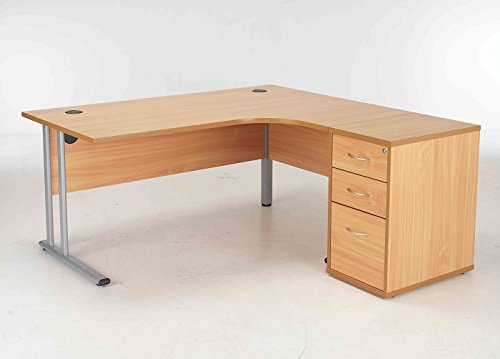 BiMi Ergonomic 1600 Right Hand Corner Desk with 3 Draw Desk High Pedestal Oak