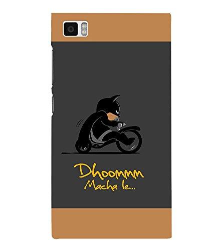 Takkloo Dhoom macha le ( Bat in Black, Super hero on black bike, man wearing black mask, Cartoon, Grey Background) Printed Designer Back Case Cover for Xiaomi Mi3 :: Xiaomi Mi 3  available at amazon for Rs.399