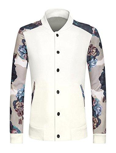 sourcingmap Hommes Bouton-pression Slim Fit Veste Floral Blanc
