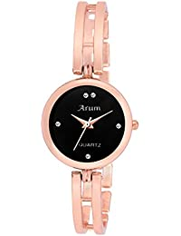 Arum Black Round Shaped Dial Metal Strap Fashion Wrist Watch For Women's And Girl's