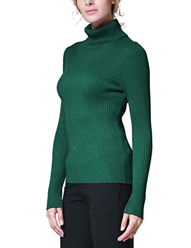 Rocorose Damen Langarm Gerippter Basic Rollkragen Pullover Grün