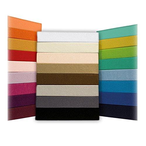 Spannbettlaken Bettlaken 180x200 - 200x200 cm / Spannbetttuch Spannleintuch aus Jersey Baumwolle in pink für Doppelbett-Matratzen