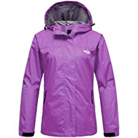 Wantdo Chaqueta Impermeable para Mujer Cortavientos Ligera con Capucha  Deportiva 0c64434aa967f