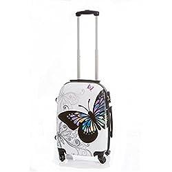 Maleta pequeña mariposas Blanca 55x40x23 cm