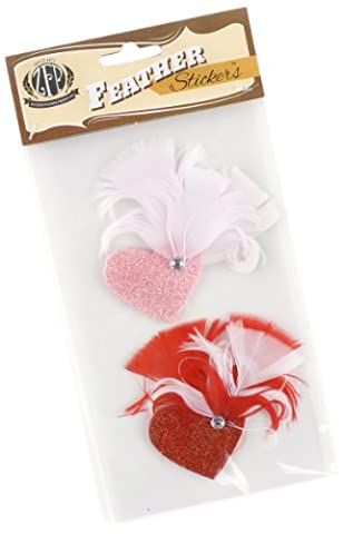 Zucker Feather Products Feather Stickers, Glitter Hearts, Candy Pink/Red/White by Zucker Feather Products