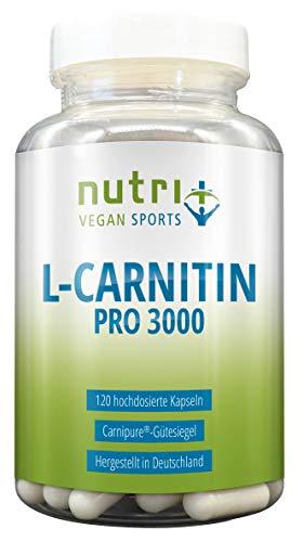 L-Carnitin Pro – 2400mg L-Carnitin Carnipure® – sehr hochdosiert + rein – ohne Magnesiumstearat – Definitionsphase – Premiumqualität aus Deutschland – Nutri-Plus Vegan Sports
