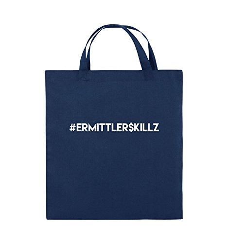 Comedy Bags - #ERMITTLER$KILLZ - Jutebeutel - kurze Henkel - 38x42cm - Farbe: Schwarz / Silber Navy / Weiss