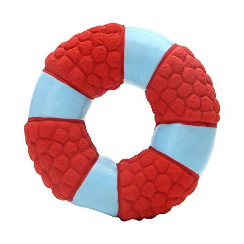WEAO Latex Rettungsring Hundespielzeug Welpen Klingendes Spielzeug Beißwiderstand Saubere Zähne Interaktives Training Haustierbedarf Für Hunde, Zwei Farben (Color : Red)