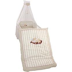 roba Kinder-Bettgarnitur 4-tlg, Babybett-Ausstattung, Bettset mit Applikation, Bettwäsche 100x135 (Decke & Kissen), Nestchen, Himmel