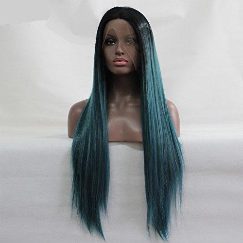 Soie droites Sythetic Lace Front Perruques sans colle racines foncées Naturel Vert Ombre Perruque résistant à la chaleur Fibre Cheveux