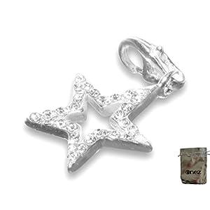Enez Echt 925 Silber Anhänger Charms Charm Stern (1,8 x 1,8cm) + Geschenkbeutel T501