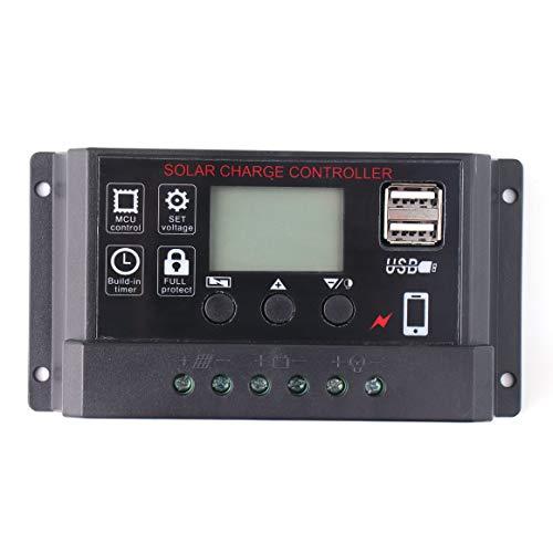 Funnyrunstore Portable 30A Amp Pannello Solare regolatore Batteria Caricabatterie Solare con Display LCD Digitale 12 / 24V Auto USB (Nero)