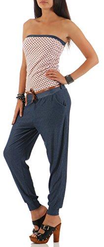 malito Damen Einteiler mit Punkten | Overall im Jeans Look | Jumpsuit mit Gürtel | Hosenanzug �?Playsuit 9651 Rosa