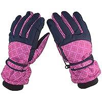 ZHJBD Equipo de Proteccion/Guantes de esquí para Montar al Aire Libre Vellón a Prueba de Viento Guantes Calientes Deportes Guantes completos para los Dedos Equipo de Ciclismo (Color : Pink)