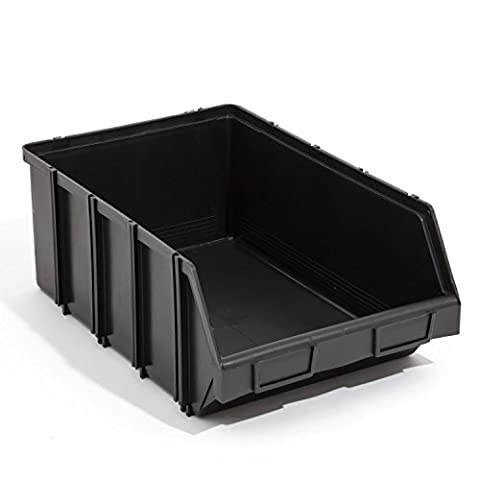 100 x Stapelboxen Stapelkisten Box 490x310x190 Gr 4 Sichtlagerkästen schwarz groß stapelbar steckbar