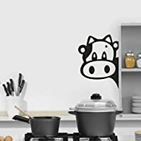 Cute Cows Kitchen Refrigerator Removable Art Vinyl Mural Home Room Decor Wall friendGG Stickers DIY Art Crafts Mural Wallpaper Decals Fridge Decor Waterproof wall Decor (18cm x 24cm, Black)