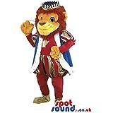 Mascotte SpotSound Amazon águila rojo & amarillo con sombrero pirata para disfraz SpotSound Amazon soirã © e