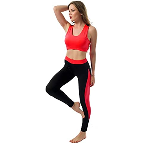 ALAIX Pantalones 2 piezas juego de los deportes Medias ejercicio de yoga polainas de las mujeres rojo-S