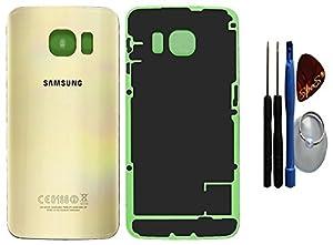 Original Samsung Galaxy S6 G920F in gold Akkudeckel Akkufachdeckel, Batterieabdeckung, Rückseite, Back-Cover Inklusive Kleberfolie + Werkzeug Set+Reparaturanleitung (Austausch des Backcovers ) : Reparatur Set von SPES®
