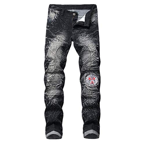 Herren Jeans Hose Mode Denim Hose Neue Distressed Jeans Hose individuelle mit bedruckter Hose (B,XXL)