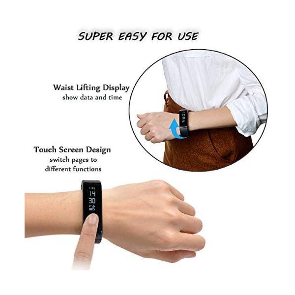 WADEO Fitness Tracker, Pulsera de Actividad Smart Bluetooth Pulsera podómetro Smart Bracelet Sleep Monitor, Reloj de Actividad Impermeable con Banda de reemplazo para Android y iOS (Negro-2) 6
