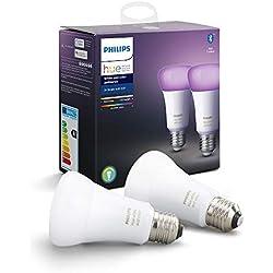 Philips Hue Ampoules LED Connectées White & Color Ambiance E27 Compatible Bluetooth, Fonctionne avec Alexa Pack de 2