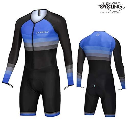 nuckily New Men's Triathlon Suit Racing Hautfahranzug Bike Swim Run Schwarz und Blau
