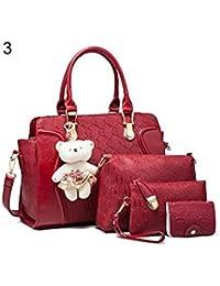 ELECTROPRIME 5 Pcs/Set Fashion Lady Faux Leather Handbag Shoulder Bag Clutch Card Holder Gift - B077N2CYG4