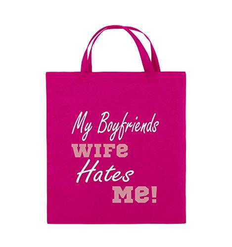 Comedy Bags - My boyfriends wife hates me! - Jutebeutel - kurze Henkel - 38x42cm - Farbe: Weiss / Rosa-Violet Pink / Rosa-Weiss