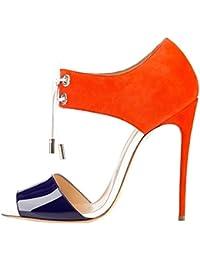 Zapatos azules Tacón de aguja con cordones formales Calaier para mujer gOqgrvjf