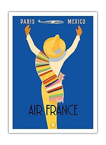 Paris Mexique - Air France - Natif du Mexique dans sombrero et poncho - Airline affiche vintage de voyage Vintage Airline Travel Poster by Edmond Maurus c.1950s - Prime 290gsm Giclée Imprime - 30.5cm x