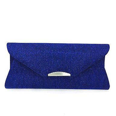 pwne L. In West Frauen Elegante Hochwertige Metall Seidenen Faden Das Kuvert Abend Tasche Blue