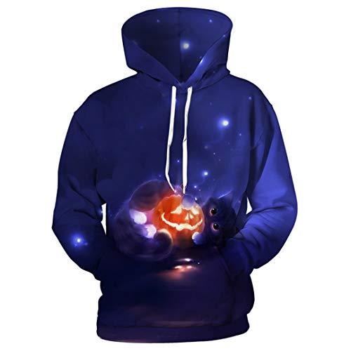 Halloween Hoodies Männer Katze Kapuzen Sweatshirts Männer Kürbis Laterne 3D Print Hoodies Trainingsanzüge Photo Color 5XL