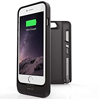 iPhone 7 6S 6 Battery Case with Bluetooth v4.0 Headset Earpiece - [NEW] SNAILINK BB 2460 mAh Battery Charging Heavy Duty Protective Cover Charger with Power Bank / Stand (Black) [MFI Apple Certified]