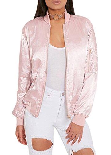 Smile YKK Long Sleeve/Rundhals/Herbst Frühling Outwear Jacke Sweatjacket College Jacke für Damen Mädchen S Pink