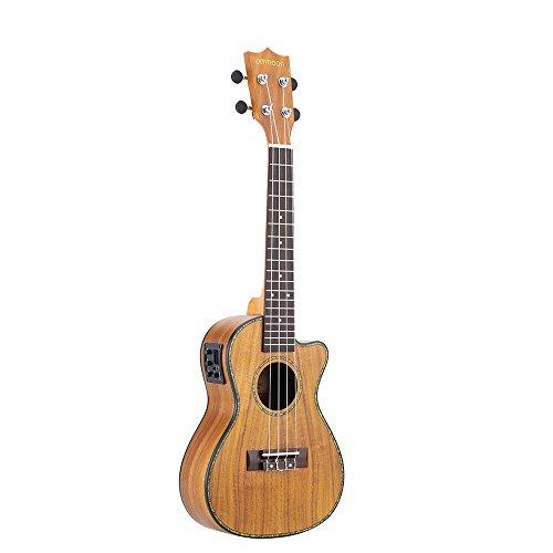 Ammoon 24 Cutaway Ukulele Hawaii Gitarre mit LED EQ Koa cauris Sperrholz Shell Brims Ox OS Sattel 4 Saiten Instrument Geschenk